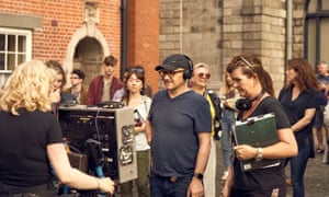 Director Lenny Abrahamson on the set of Normal People.