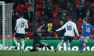 Tottenham's Fernando Llorente scores their second goal.