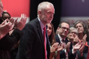 Labour leader Jeremy Corbyn being congratulated following his victory in the Labour leadership contest.