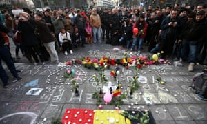 Tributes at Place de la Bourse in Brussels shortly after the attacks in March 2016