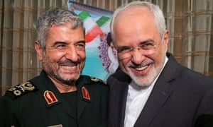 IRGC commander Mohammad Ali Jafari and foreign minister Mohammad Javad Zarif in Tehran on 9 October.