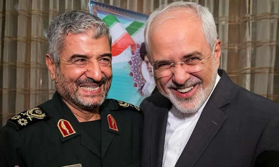 IRGC commander Mohammad Ali Jafari and foreign minister Mohammad Javad Zarif in Tehran on 9 October.