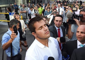 Gable Tostee leaves the Supreme Court in Brisbanein October and wears a look of relief after jurors found him not guilty of killing New Zealand tourist Warriena Wright, whom he met via the dating app Tinder in 2014. Wright died when she fell from a balcony after the pair had argued – an argument which Tostee recorded on his phone.