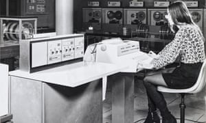Cathy Gillespie runs the initial program load on an IBM 360 at the Central Electricity Generating Board, 1970.