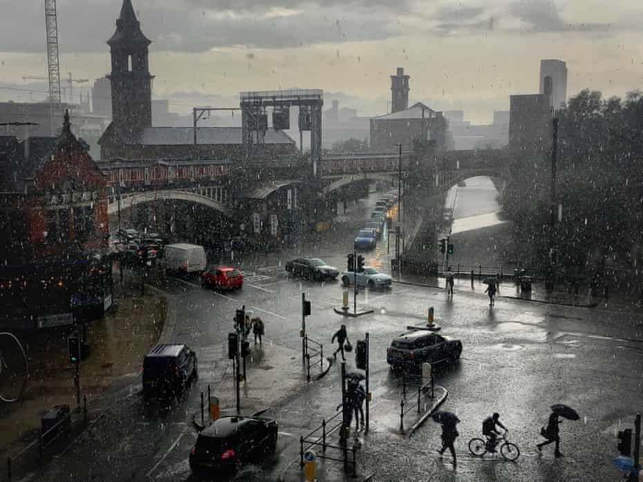 Manchester Rainstorm, Deansgate. August 2019