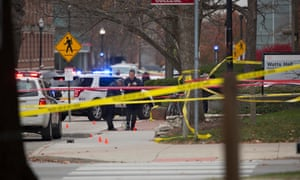 Investigators work the scene outside of Watts Hall on Ohio State's campus after the attack.