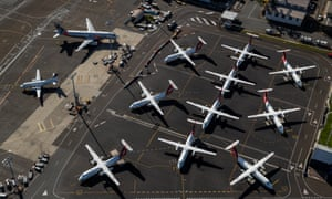 Aerial view of grounded Qantas planes on the tarmac
