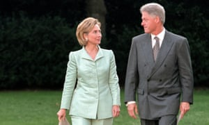 Hillary and Bill Clinton step across the South Lawn at the White House in September 1998.