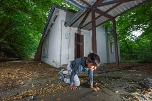 Stanko, from Serbia, plays curious fox sniffing around an abandoned chapel in Spandau.