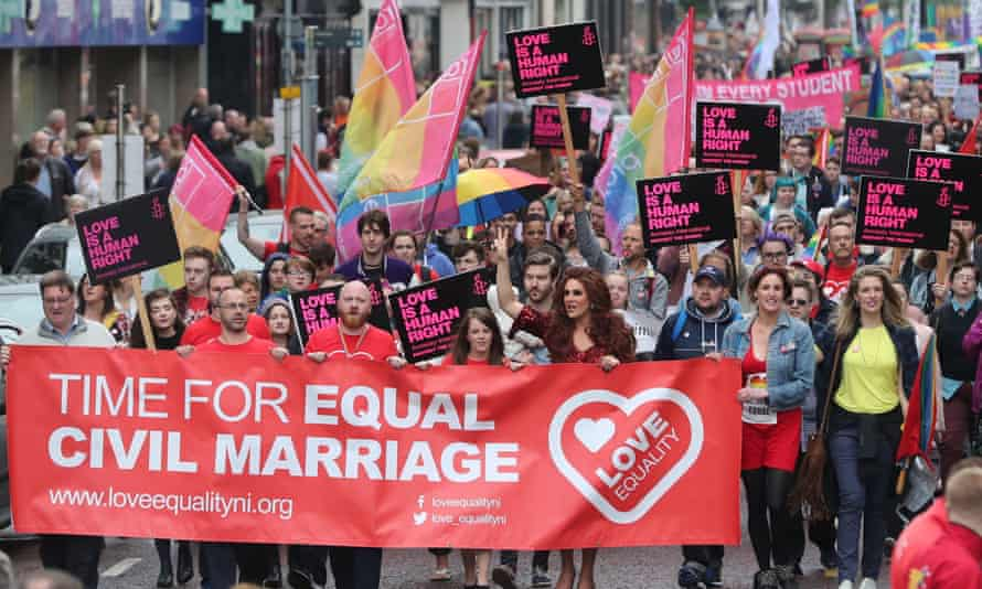 Campaigners calling for the introduction of same-sex marriage in Northern Ireland during a parade in Belfast on 1 July 2017.