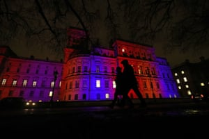 The colours of  the union jack are lit up on the Foreign and Commonwealth Office in Westminster, London.