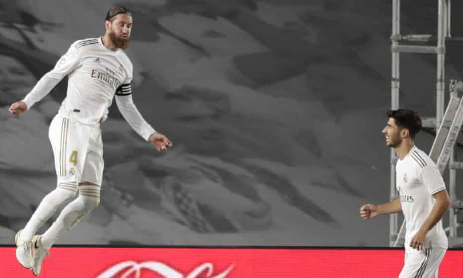 Sergio Ramos after scoring Real Madrid's opening goal at Getafe on Thursday 2 July, from the penalty spot