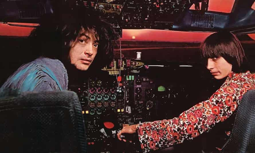 Plane crazy … Simeon Coxe and Danny Taylor at the controls of a Pan Am jet for the controversial sleeve of their ill-fated second album, Contact, in 1969.