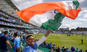 An India fan shows his support before the World Cup match against Australia at The Oval.
