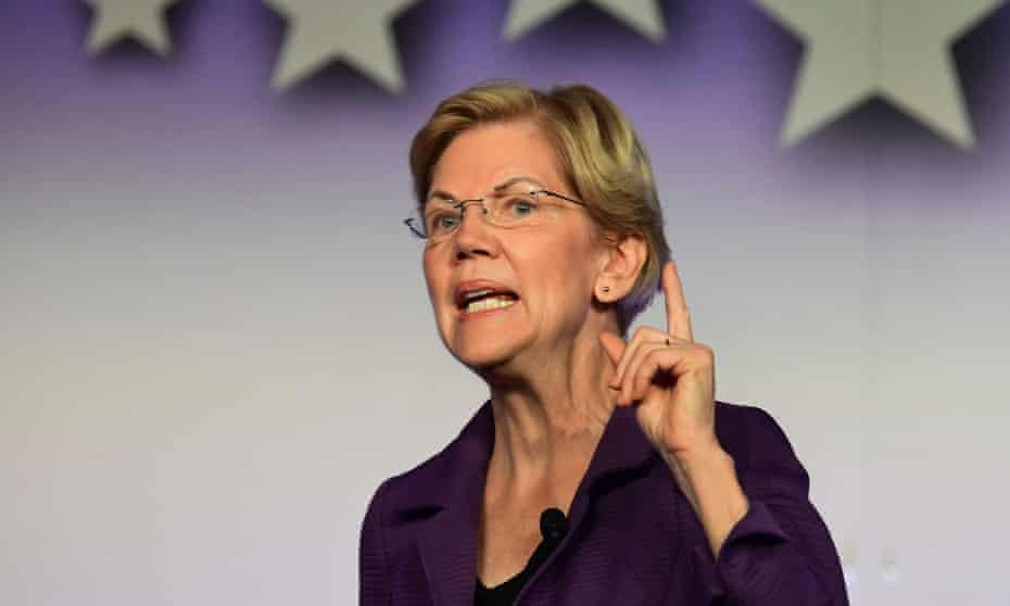 Elizabeth Warren speaks at the SEIU Unions for All Summit in Los Angeles.