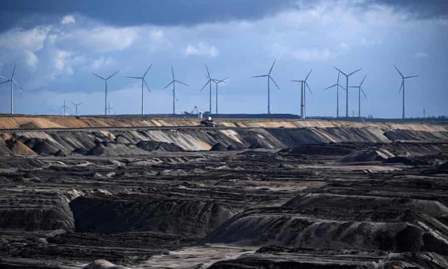 Wind turbines near an open-cast mine in western Germany