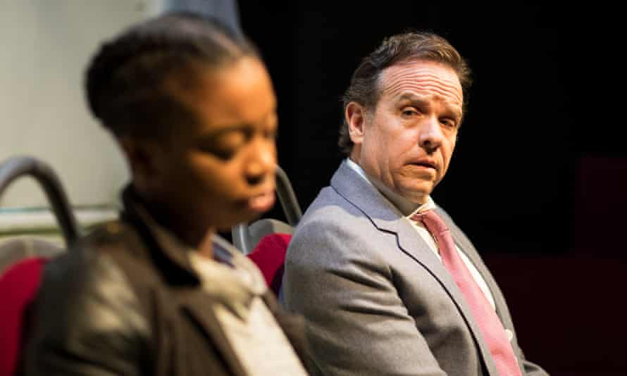 Pulls no punches … Joanna McGibbon as Shatique and Donald Sage Mackay as Ray in White Guy on the Bus.