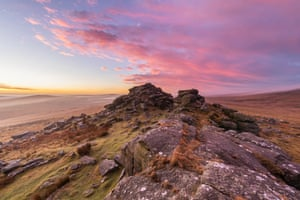 West Mill, Dartmoor national park, by Andrew Sweeney: 'Early misty February morning on West Mill Tor. As the mist cleared, it gave a sky full of pastel colours at sunrise.'