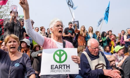 Extinction Rebellion activists, including older protesters, occupy Waterloo Bridge in April 2019.
