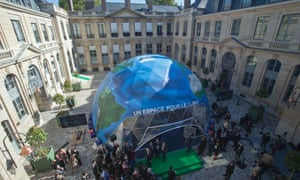 An exhibition on climate change, installed in the courtyard of the environment ministry in Paris, which will host UN climate talks in Paris in December.