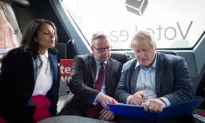 Priti Patel, Michael Gove and Boris Johnson on the Vote Leave campaign bus in Lancashire in June 2016