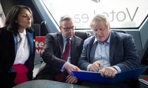 Priti Patel, Michael Gove and Boris Johnson on the Vote Leave campaign bus in Lancashire