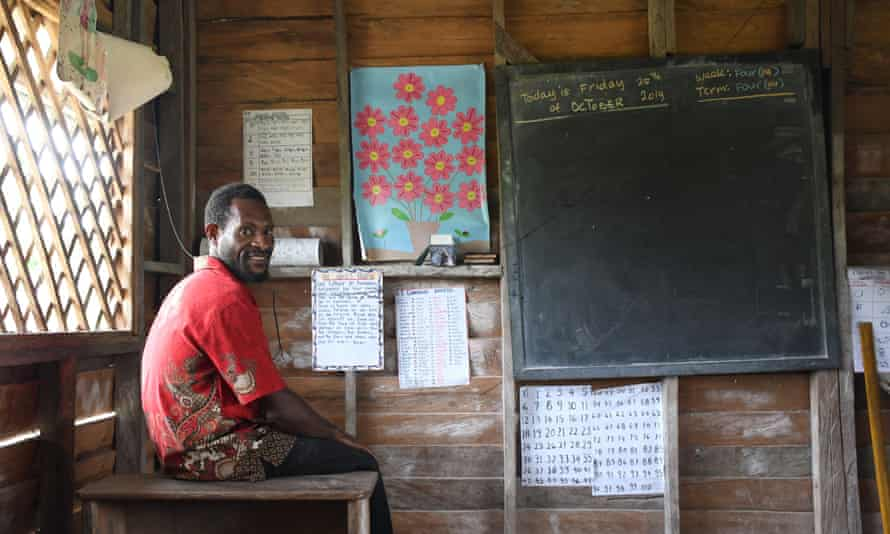 Inside a schoolroom in one of the refugee villages along the Fly River, where two teachers instruct more than 100 elementary students.