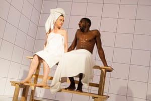 2012 Amanda Drew and Rhashan Stone in Maths from Love And Information by Caryl Churchill @ Royal Court. Directed by James Macdonald. (Opening 14-09-12) ©Tristram Kenton 09/12 (3 Raveley Street, LONDON NW5 2HX TEL 0207 267 5550 Mob 07973 617 355)email: tristram@tristramkenton.com