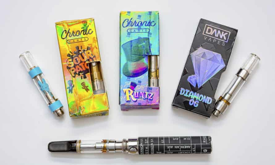 Cannabis-containing vaping products which included high levels of vitamin E acetate.