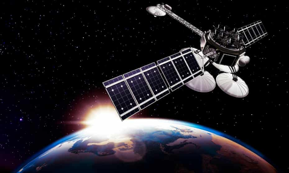 Communication satellite, Comsat above Earth, lit by the rising Sun on a black starry sky background.