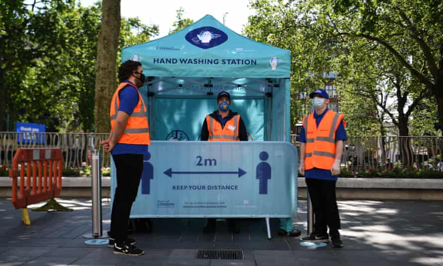 A hand washing station in London, June 2020