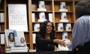 Michelle Obama at a bookstore signing