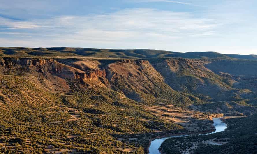The Rio Grande river runs through a canyon just outside Los Alamos, New Mexico.