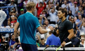 Anderson congratulates Rafael Nadal at the end of the 2017 US Open final.