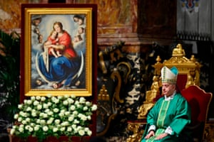 Archbishop sits on a grand chair