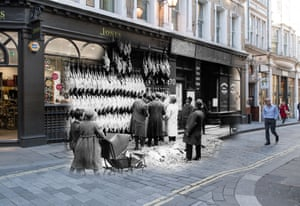 Christmas turkeys hang outside a poulterers in Watling Street in December 1923. The street has hardly changed by 23 November 2017