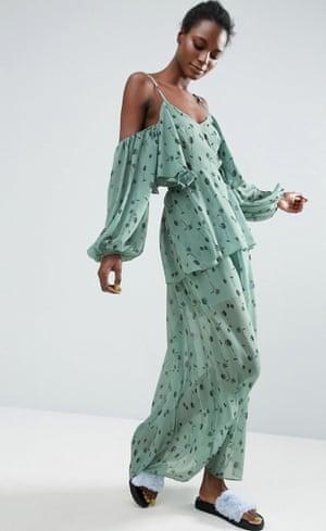 Asos Made In Kenya cold shoulder maxi dress in ditsy floral print.