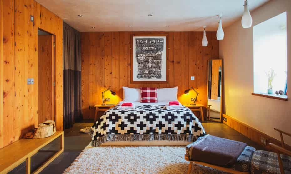 Bedroom at The Albion, Aberteifi, Wales, UK.