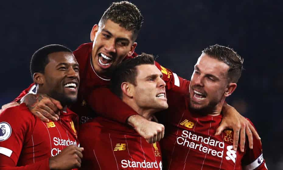 James Milner is congratulated after scoring at Leicester