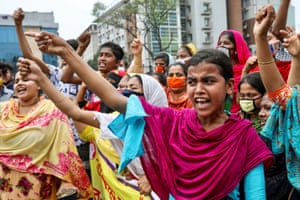 Dhaka, Bangladesh Garment workers form a roadblock as they demand their wages during the coronavirus lockdown