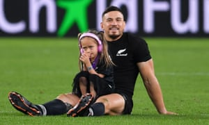 Sonny Bill Williams with his daughter Imaan after New Zealand's victory over Wales in the bronze match at the recent union World Cup.