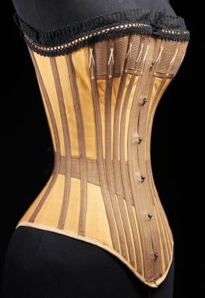 Corset made from cotton and whalebone, c1890.