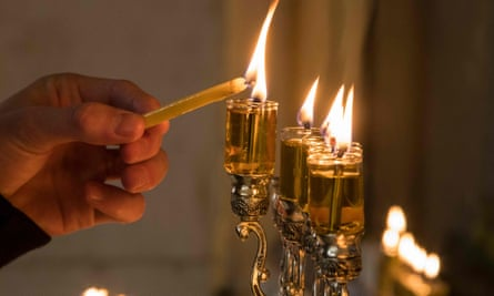 Candles burning during Jewish festival of Hannukah