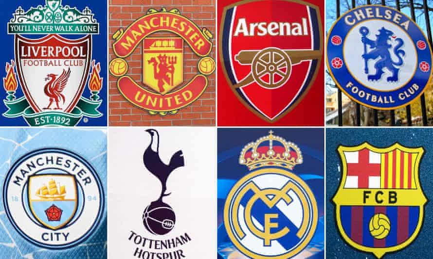Liverpool, Manchester United, Arsenal, Chelsea, Manchester City, Tottenham, Real Madrid and Barcelona are among the clubs involved in the Super League project.