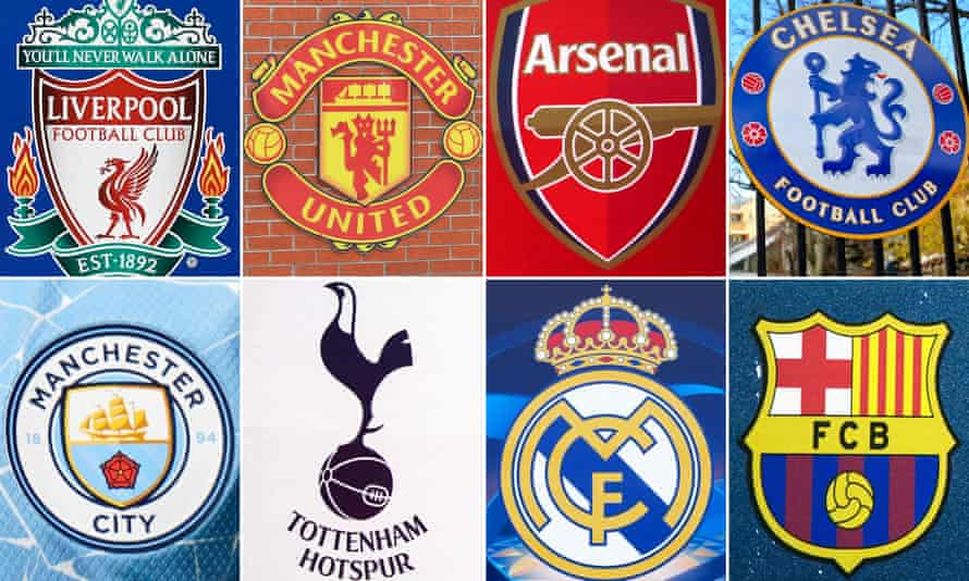 Liverpool, Manchester United, Arsenal, Chelsea, Barcelona, Real Madrid, Tottenham and Manchester City are among the 12 rebel clubs.