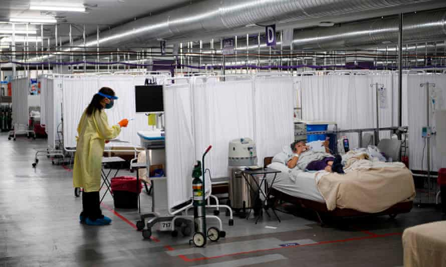 A patient recovers in the Covid-19 alternative care site, built into a parking garage, at Renown Regional Medical Center, in December, in Reno, Nevada.