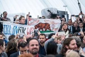 Anti fracking protestors interrupt America's Pledge leader, California governor Jerry Brown's speech