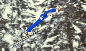 Matti Nykänen on his way to gold at the Sarajevo Winter Olympics in 1984
