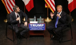 Donald Trump talks with Jerry Falwell Jr during a campaign event in 2016.