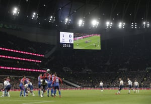 Harry Kane goes close to scoring when he whipped a free-kick over the wall and just the wrong side of the upright.